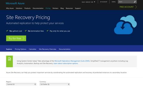 Screenshot of Pricing Page microsoft.com - Pricing - Site Recovery | Microsoft Azure - captured Jan. 5, 2017