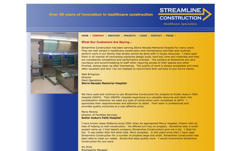 Screenshot of Testimonials Page streamlineconstruction.net - Testimonials | Streamline Construction | Imaging Equipment Contractor, California - captured Oct. 7, 2014