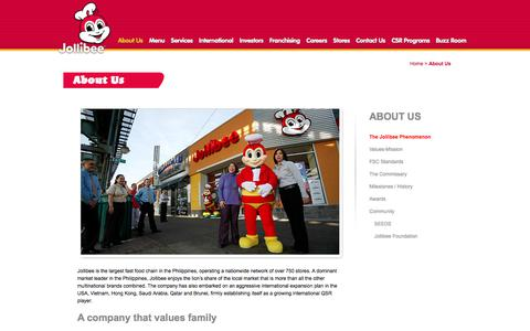 Screenshot of About Page jollibee.com.ph - About Us «  Jollibee Foods Corporation - captured Sept. 22, 2018