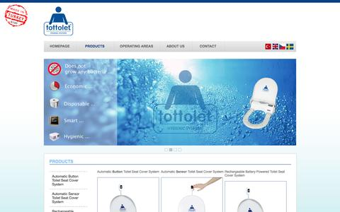 Screenshot of Products Page tottolet.com - Tottolet, Automatic Toilet Seat Cover System - Turkey's One Only Automatic Toilet Seat Cover - captured Oct. 7, 2014