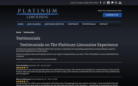 Screenshot of Testimonials Page platinumlimousinewny.com - Testimonials | Platinum Limousine - captured Sept. 28, 2018