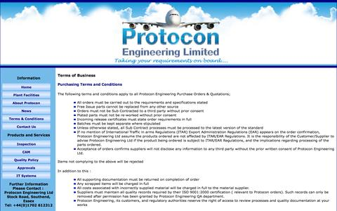 Screenshot of Terms Page protoconengineering.co.uk - Terms of Business - captured Oct. 3, 2014