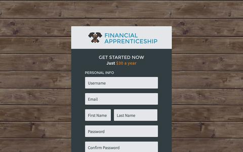 Screenshot of Signup Page financialapprenticeship.com - Register - Financial Apprenticeship - captured Oct. 29, 2014