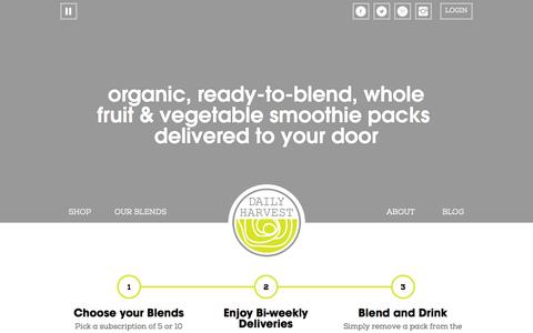 Screenshot of Home Page daily-harvest.com - Daily Harvest - Ready to Blend Smoothie Packs - captured Sept. 25, 2014