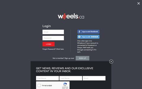 Screenshot of Login Page wheels.ca - Login – WHEELS.ca - captured Sept. 22, 2018
