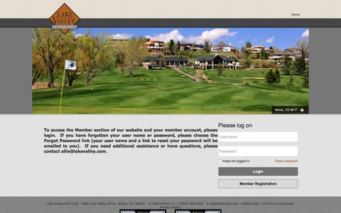 Screenshot of Login Page lakevalley.com - Lake Valley Golf Club - Login - captured July 13, 2017