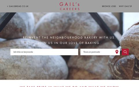 Screenshot of Jobs Page gailsbread.co.uk - GAIL's Bakery - latest jobs and vacancies - captured July 7, 2018
