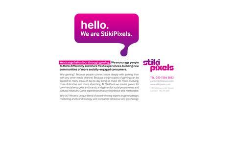 Screenshot of Home Page stikipixels.com - StikiPixels - We change behaviour through gaming - captured Oct. 7, 2014