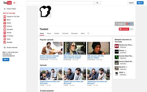 Screenshot of YouTube Page youtube.com - Toazted  - YouTube - captured Oct. 26, 2014