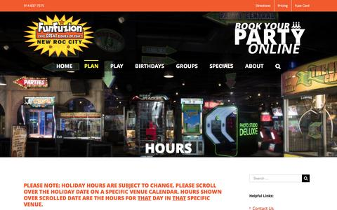Screenshot of Hours Page funfuziononline.com - Hours | FunFuzion Indoor Amusement Park | Bronx - Westchester, NY - captured Nov. 24, 2016