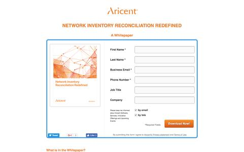 Screenshot of Landing Page aricent.com - Network Inventory Reconciliation Redefined - captured Feb. 15, 2017