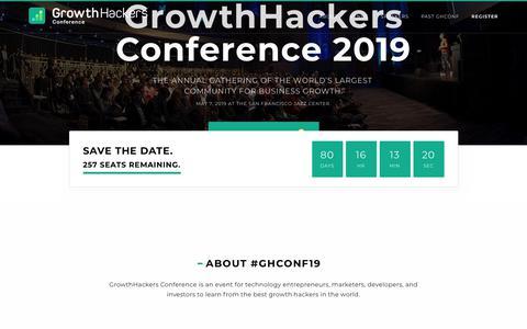 Screenshot of Home Page growthhackersconference.com - GrowthHackers Conference 2019 #GHConf19 - captured Feb. 15, 2019