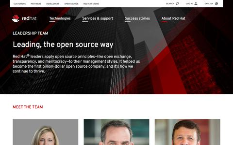 Screenshot of Team Page redhat.com - Our leadership team - captured Aug. 8, 2018