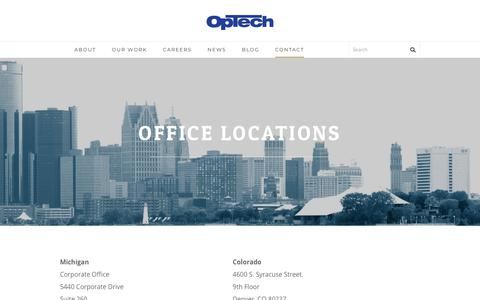 Screenshot of Contact Page optechus.com - Contact OpTech - We are OpTech - captured Jan. 19, 2018