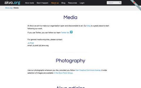 Screenshot of Press Page akvo.org - Media | Akvo.org - captured July 3, 2016
