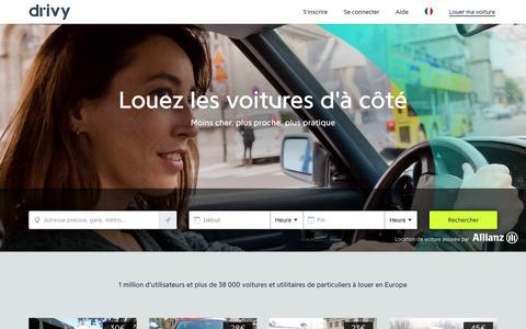 Screenshot of Home Page drivy.com - Location Voiture Particulier - Drivy - captured July 4, 2016