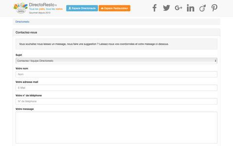 Screenshot of Contact Page directoresto.fr - référencement restaurant - faire connaitre son restaurant gratuitement - site internet et publicité restaurant - captured Nov. 6, 2018