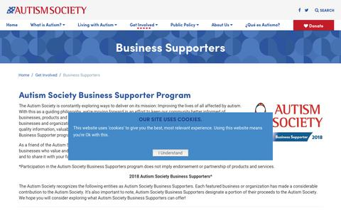 Screenshot of Support Page autism-society.org - Business Supporters - Autism Society - captured May 17, 2019