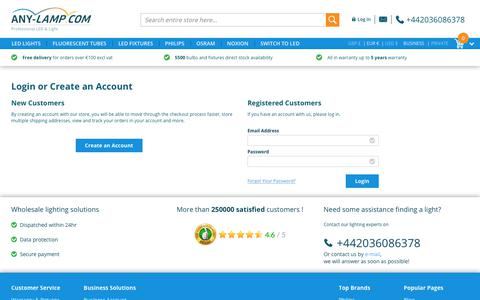 Screenshot of Login Page any-lamp.com - Customer Login  | Any-lamp - captured June 27, 2017