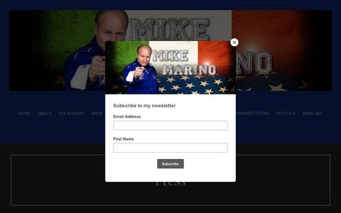 Screenshot of Press Page mikemarino.net - Press - Mike Marino - captured Oct. 19, 2018