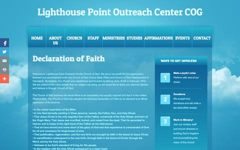 Screenshot of About Page lhpcog.org - About Us - Lighthouse Point Outreach Center COG - captured Oct. 2, 2014