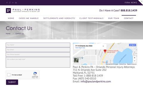 Screenshot of Contact Page paulandperkins.com - Contact Us - captured June 10, 2018