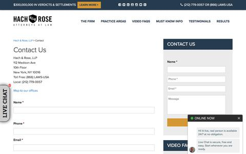 Screenshot of Contact Page unionlawfirm.com - Contact New York Personal Injury Lawyers, Attorneys | Hach & Rose, LLP - captured Sept. 22, 2019