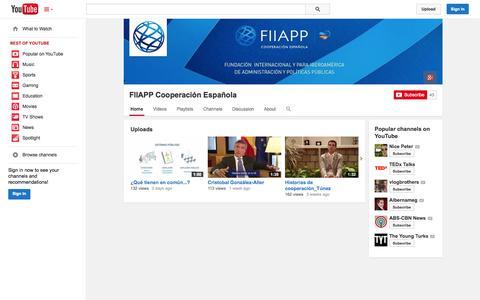 Screenshot of YouTube Page youtube.com - FIIAPP Cooperación Española  - YouTube - captured Oct. 23, 2014