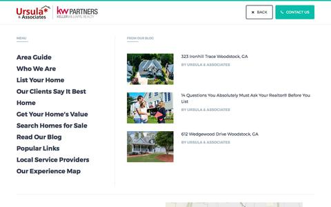 Screenshot of Menu Page callursula.com - Menu   Woodstock GA Real Estate  Properties for Sale   Ursula & Associates   Keller Williams Realty Partners - captured April 29, 2017