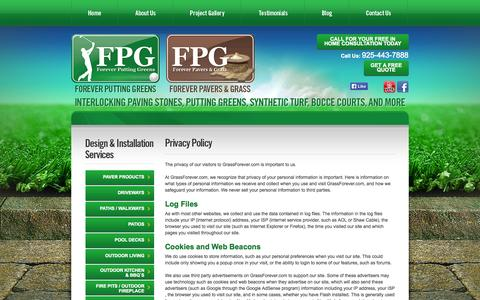 Screenshot of Privacy Page grassforever.com - Privacy Policy, Forever Putting Greens, Livermore, CA - captured Oct. 6, 2014