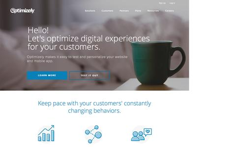 Screenshot of Home Page optimizely.com - Optimizely: A/B Testing & Personalization Platform - captured May 10, 2016