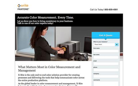 Screenshot of Landing Page xrite.com - Accurate Color Measurement. Every Time | X-Rite - captured Oct. 27, 2014