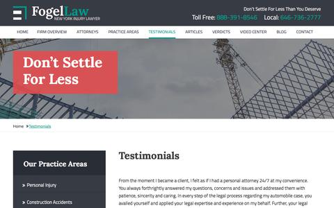 Screenshot of Testimonials Page nsfogel.com - Testimonials | Law Offices of Nussin S. Fogel | New York City - captured Sept. 24, 2018