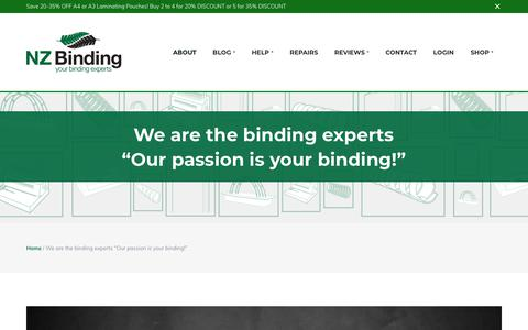 Screenshot of About Page nzbinding.com - Binding machine supplies company | We are binding machine experts! - captured Sept. 21, 2018