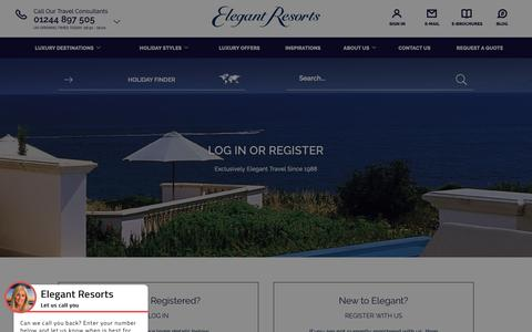 Screenshot of Login Page elegantresorts.co.uk - Members Login | Elegant Resorts - captured Oct. 10, 2018