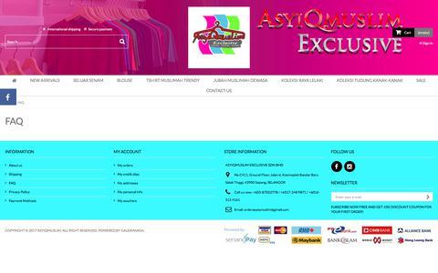 Screenshot of FAQ Page asyiqmuslim.com - FAQ - ASYIQMUSLIM - captured Jan. 31, 2018