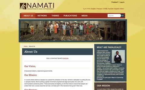 Screenshot of About Page namati.org - Namati  » About Us - captured Oct. 6, 2014