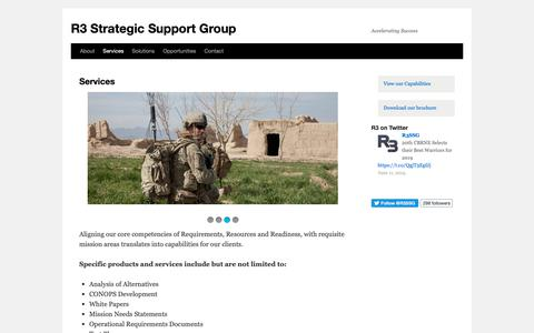 Screenshot of Services Page r3ssg.com - Services | R3 Strategic Support Group - captured June 20, 2019