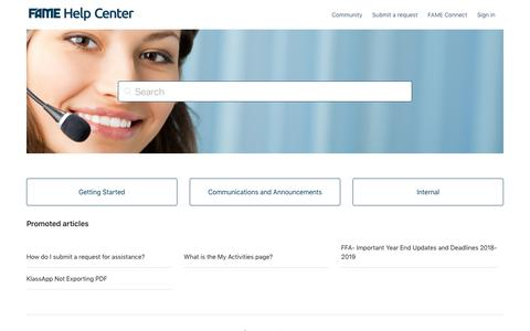 Screenshot of Support Page fameinc.com - FAME Help Center - captured Aug. 10, 2019