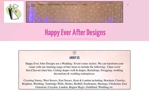 Screenshot of Home Page happyeverafterdesigns.com - Wedding Decor,Ceiling drapes, Chiavari chair hire chair covers west sussex - captured July 16, 2018