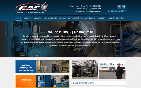 Screenshot of Home Page centralairequipment.com - Air Compressor Sales, Parts, Service, Fabrication and Rental - captured July 16, 2018