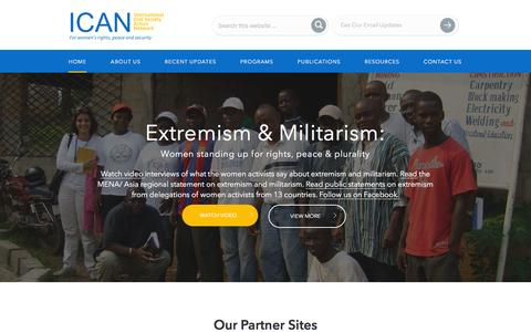 Screenshot of Home Page icanpeacework.org - International Civil Society Action Network — - captured Feb. 11, 2016