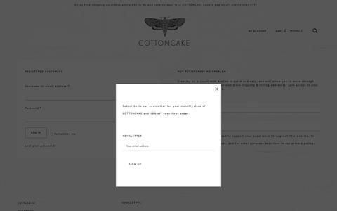 Screenshot of Signup Page Login Page cottoncake.nl - My Account - cottoncake - captured Oct. 21, 2018