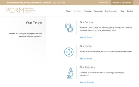Screenshot of Team Page pacificfertility.ca - Team | Fertility Doctors & Specialists in Vancouver | PCRM - captured Nov. 15, 2016