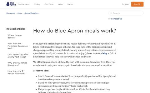 Screenshot of Support Page blueapron.com - How do Blue Apron meals work?  – Blue Apron - captured April 10, 2017