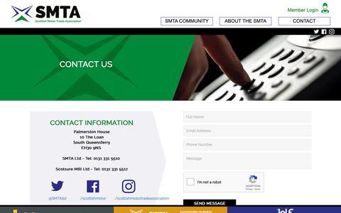 Screenshot of Contact Page smta.co.uk - Contact - SMTA - captured Nov. 16, 2018