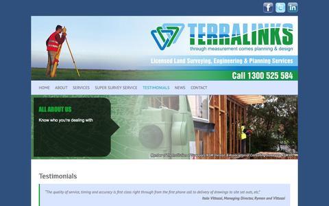 Screenshot of Testimonials Page terralinks.com.au - Testimonials | - captured Oct. 7, 2014
