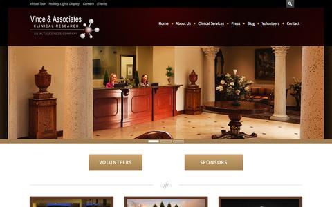 Screenshot of Home Page vinceandassociates.com - Vince & Associates Clinical Research - captured Sept. 19, 2014