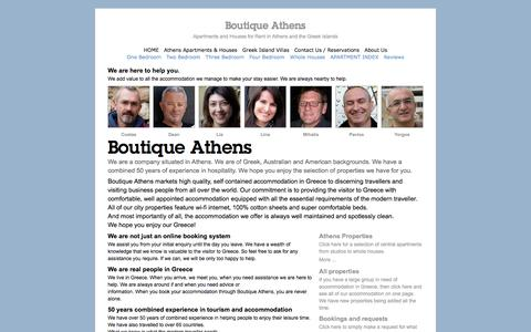 Screenshot of About Page boutiqueathens.com - Boutique Athens & Greek Island Apartments - captured Sept. 30, 2014