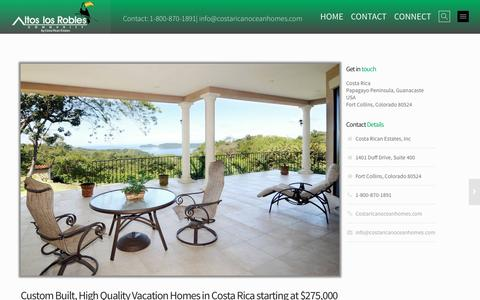 Screenshot of Pricing Page costaricanoceanhomes.com - About Costa Rica | Altos Los Robles - captured Feb. 5, 2016
